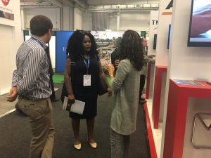 Datamine_Megan Mooi and Louwrens Cronje interacting with stand visitors at the Investing Imn African Mining Indaba 2019