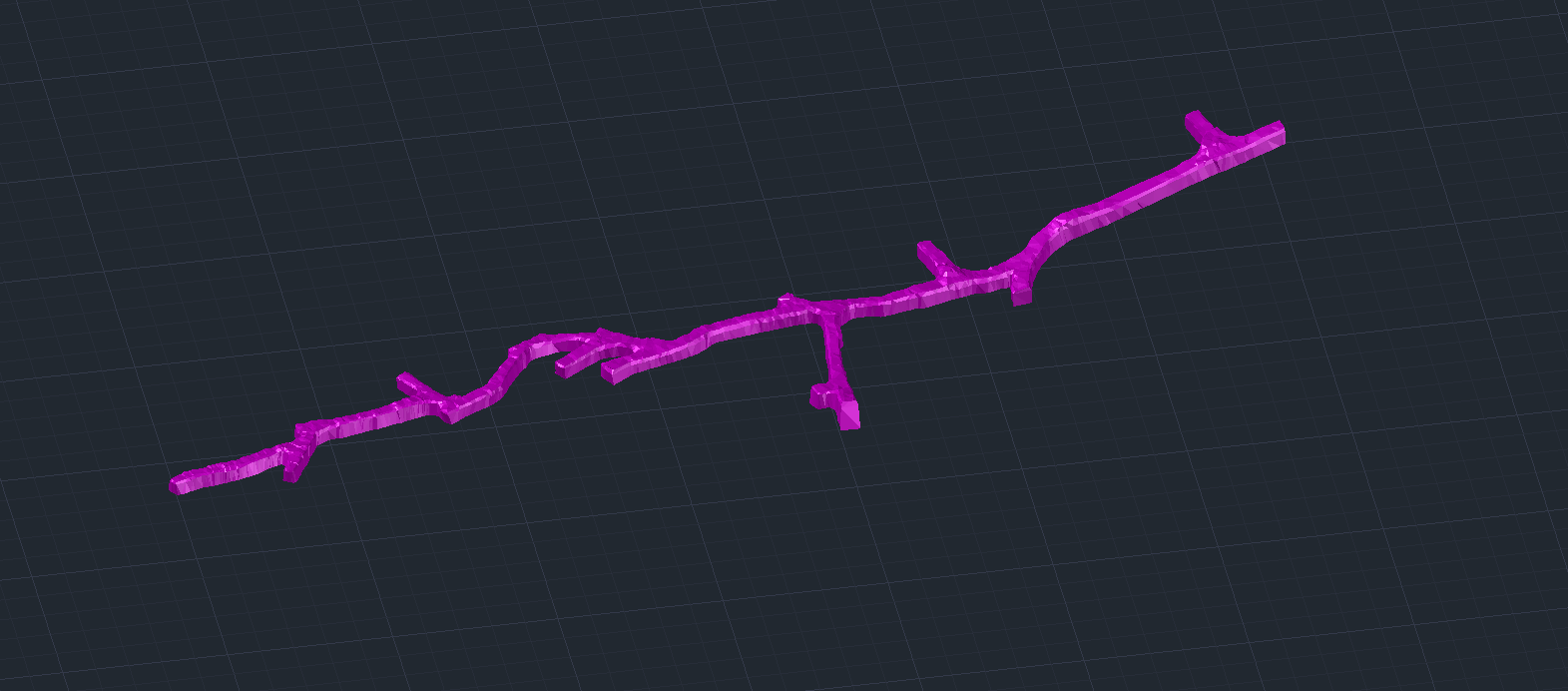 Purple survey mesh created in Amine - Underground Surveying Software