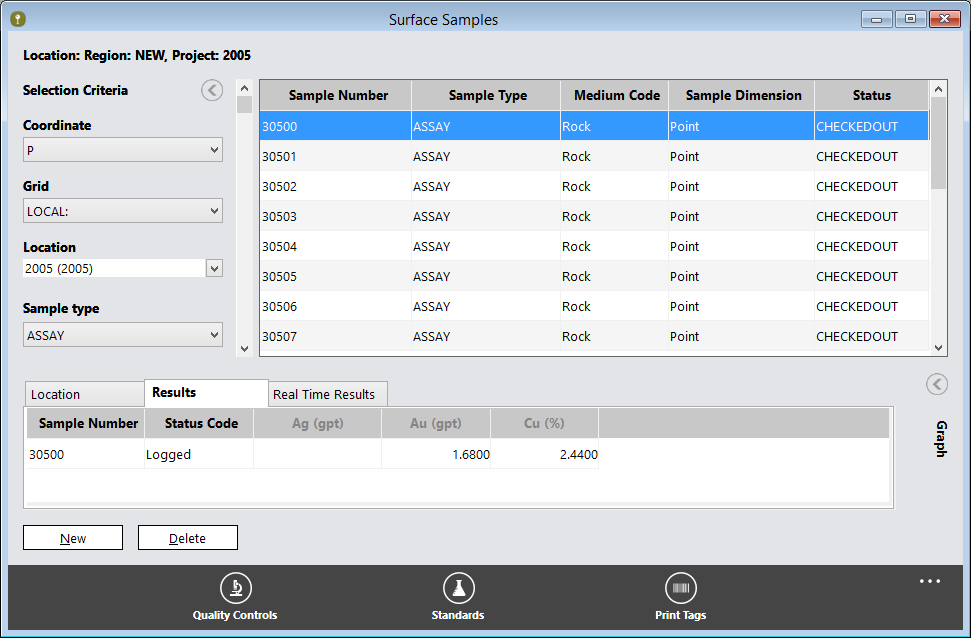 Surface Samples in Sample Station showing sample number, sample type, medium code, sample dimension and status - Sample Data Management Software