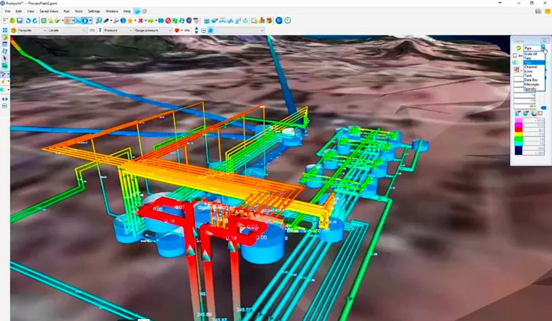 desktop interface of pumpsim - designing a network of water pipes for a mine - reticulation/pump simulation and design