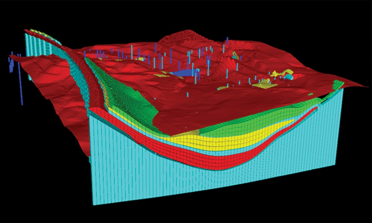 Strat model shown in Strat3D - a stratigraphic modelling software