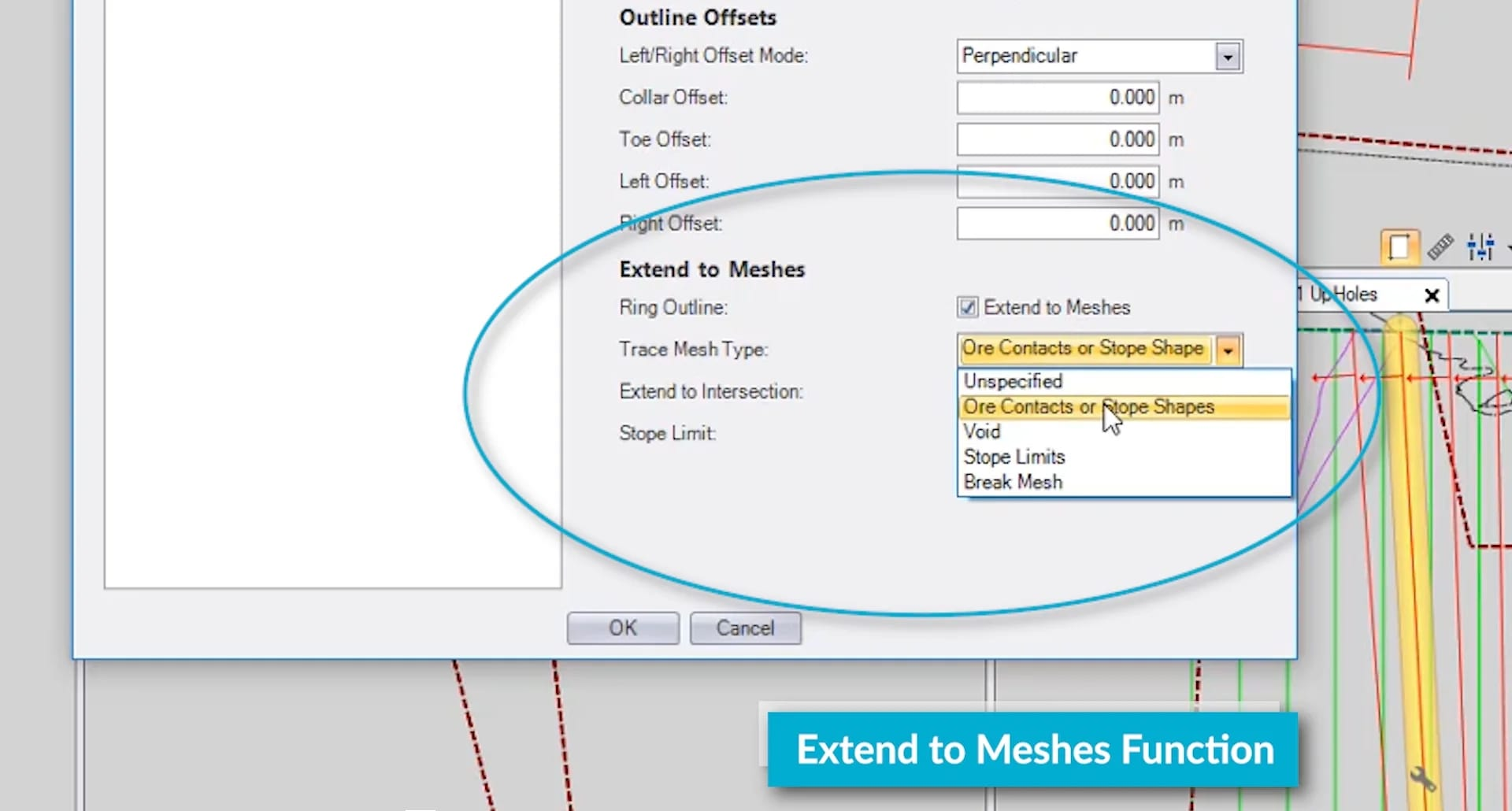 Extend to meshes function dialogue box open in Aegis- Underground Drill & Blast software