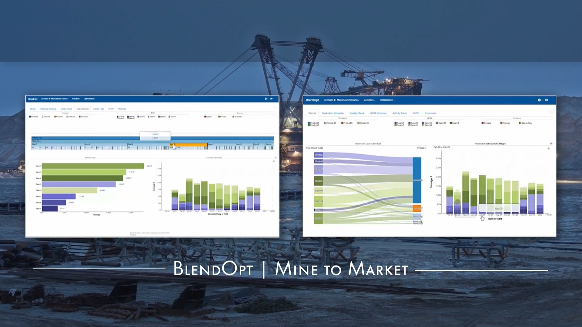 Screenshot of the BlendOpt overview video title screen with the words 'BlendOpt | Mine to Market'