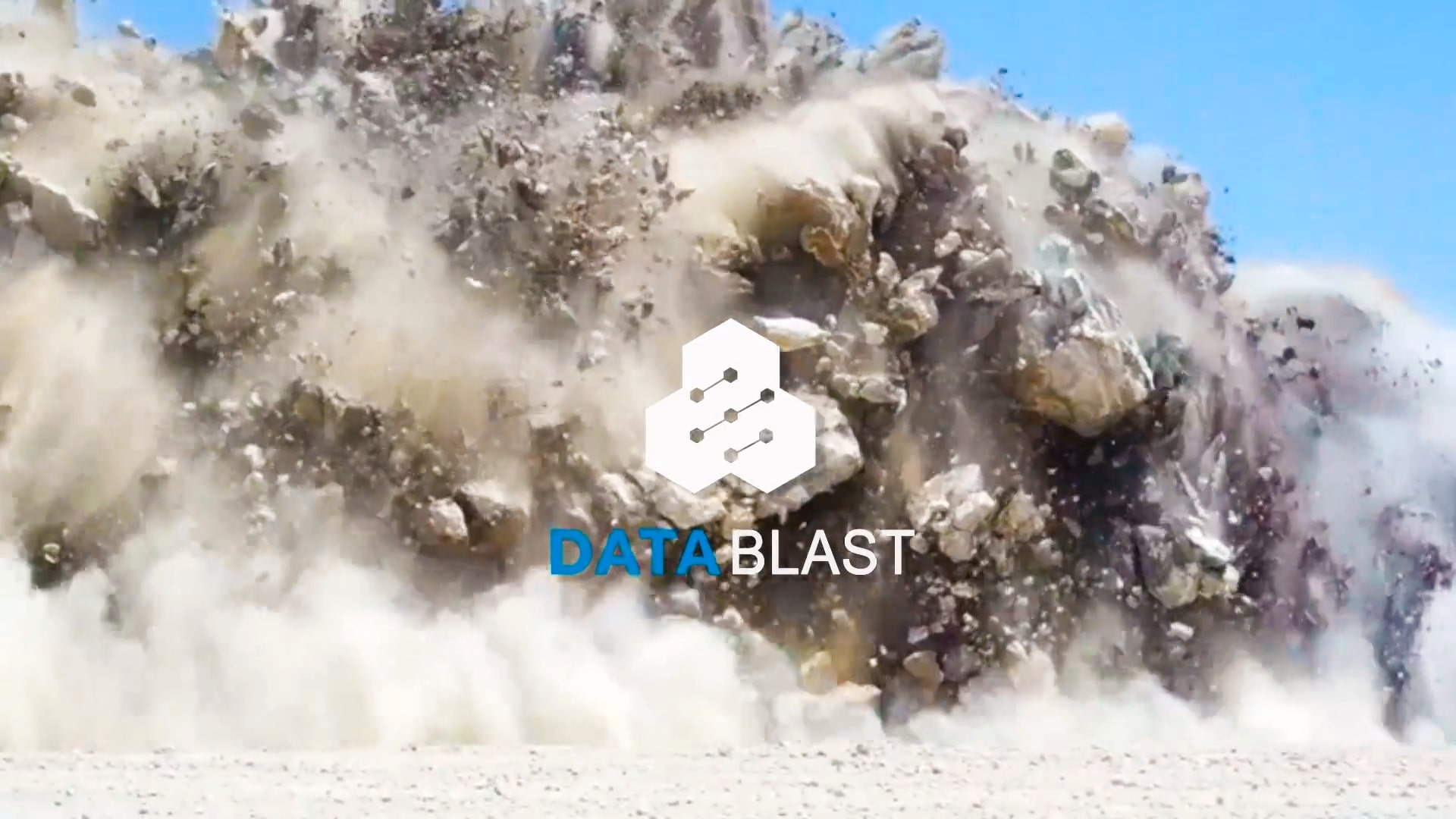 screenshot of the title screen of DataBlast overview video showing a blast in the background and the DataBlast logo in the front.