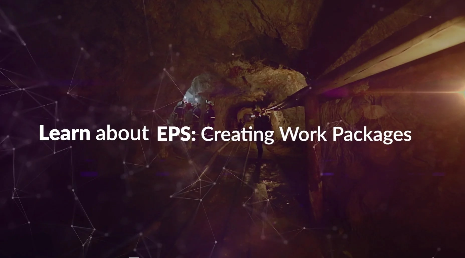 Title screenshot of EPS Video - Creating Work Packages - with the text 'learn about EPS: Creating Work Packages