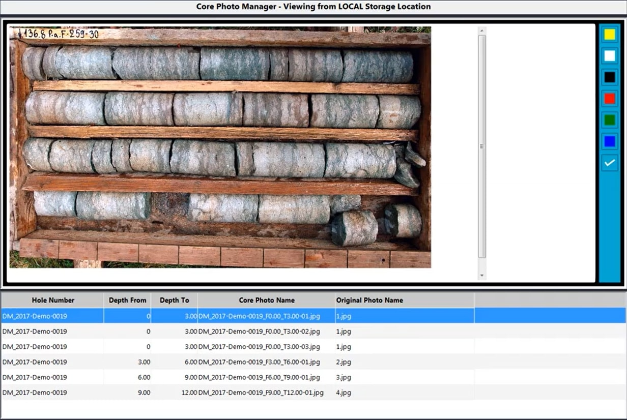 core photo management tool in Fusion that stores data/information about core collected and stored within the geological data management solution.