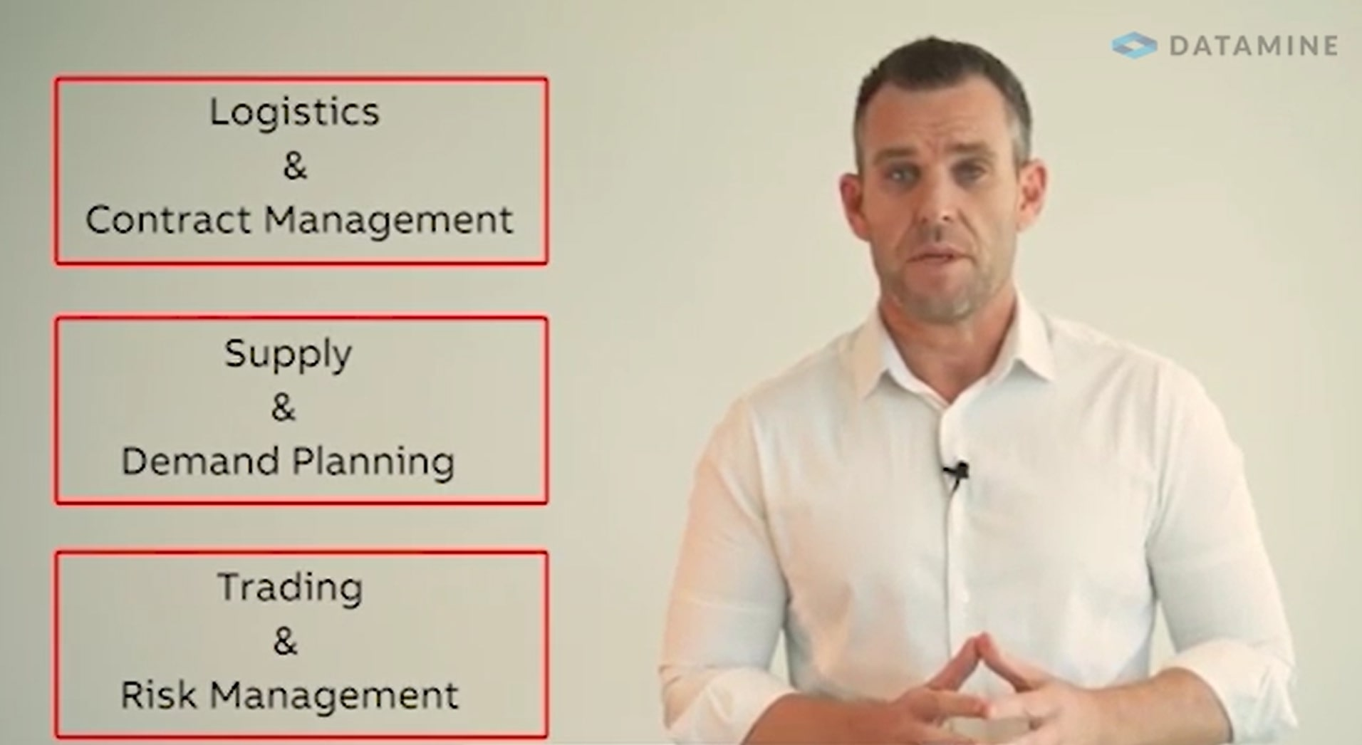 Screenshot of the title screen for the MineMarket overview video with the words 'logistics and contract management, supply and demand planning, trading and risk management'.