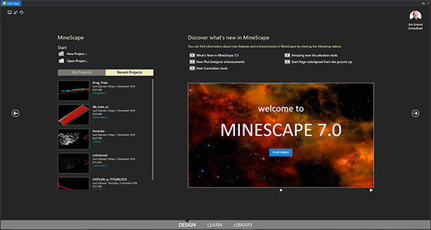 New MineScape 7.0 Start Page Screenshot with recently uploaded videos to the left and recent news that covers the middle and right hand side of the screen - Geological Modelling & Mine Planning Software