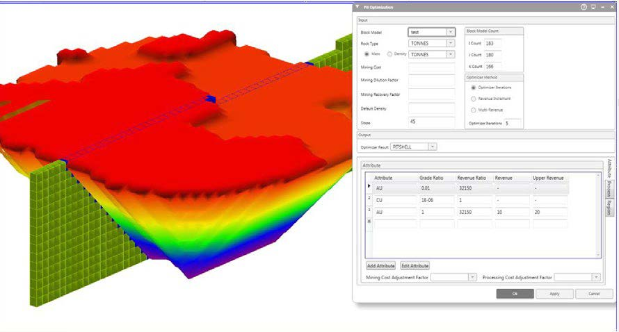 Pit optimisation tools next to an open pit model created using the Pit Optimisation Module within MineScape - Geological Modelling & Mine Planning Software