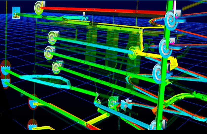 a network of pipes built in PumpSim - reticulation/pump design and simulation software