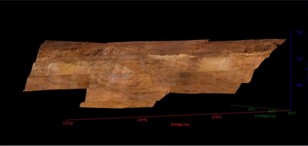 open pit benches stitched together and georeferenced using Sirovision - Geological & Geotechnical Mapping