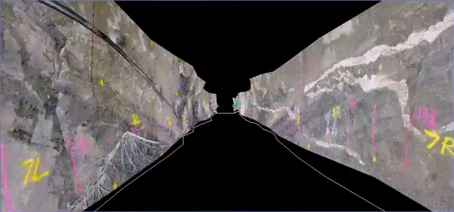 Underground Photogrammetry of a rock face in Sirovision - Geological & Geotechnical Mapping