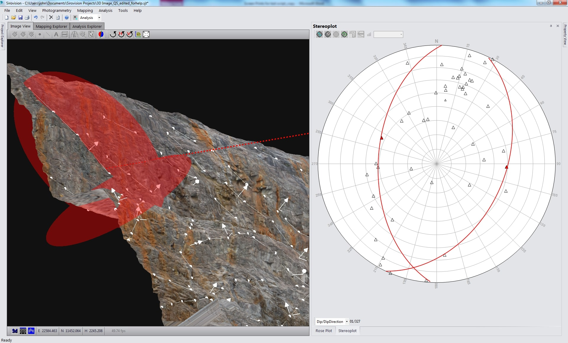 Sirovision - geotechnical analysis - dynamic structural selection/visualization - 3D geological mapping