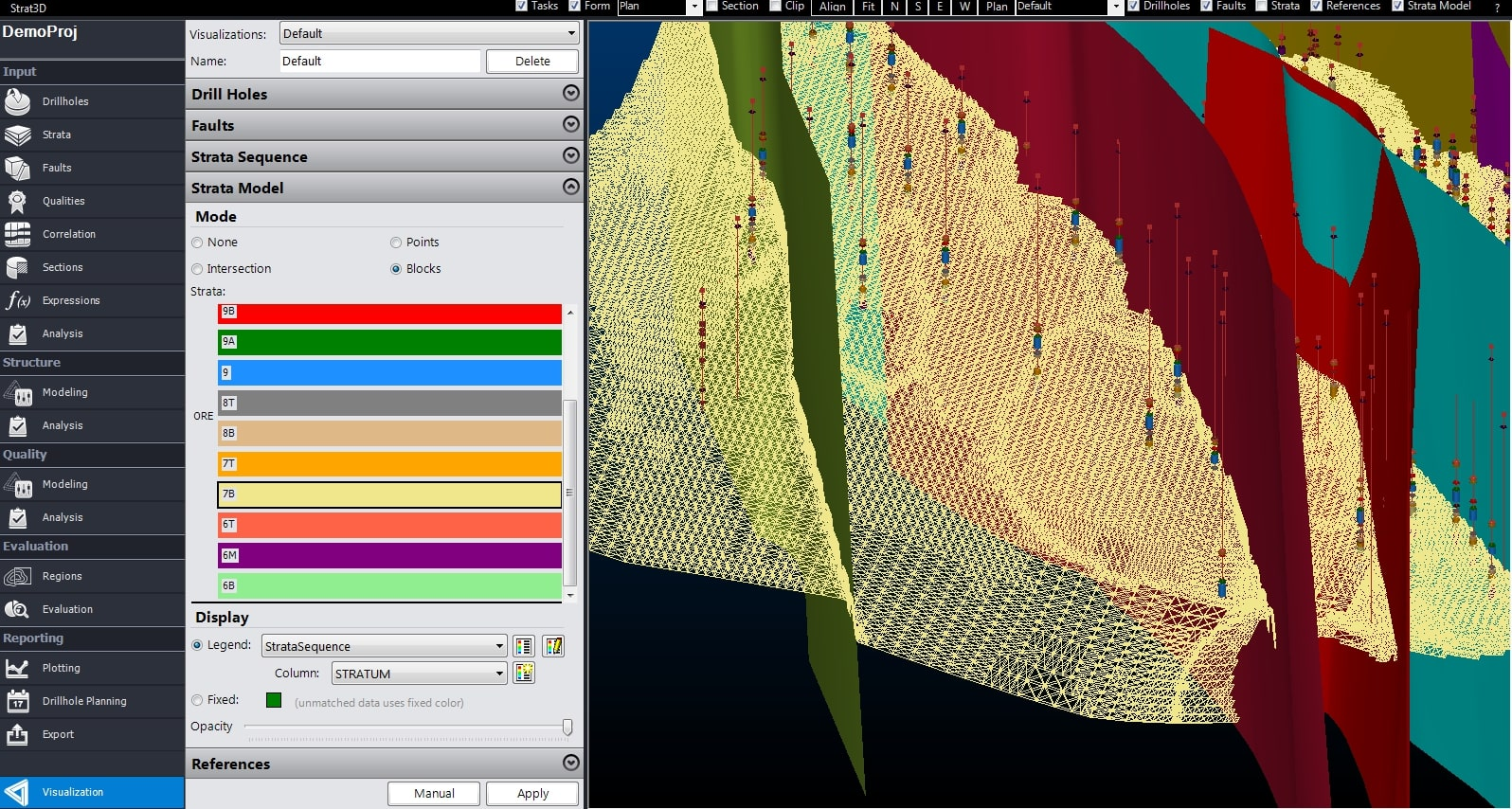A strata model visualised in Strat3D, showing strata and ore in different colours - Stratigraphic Modelling Software