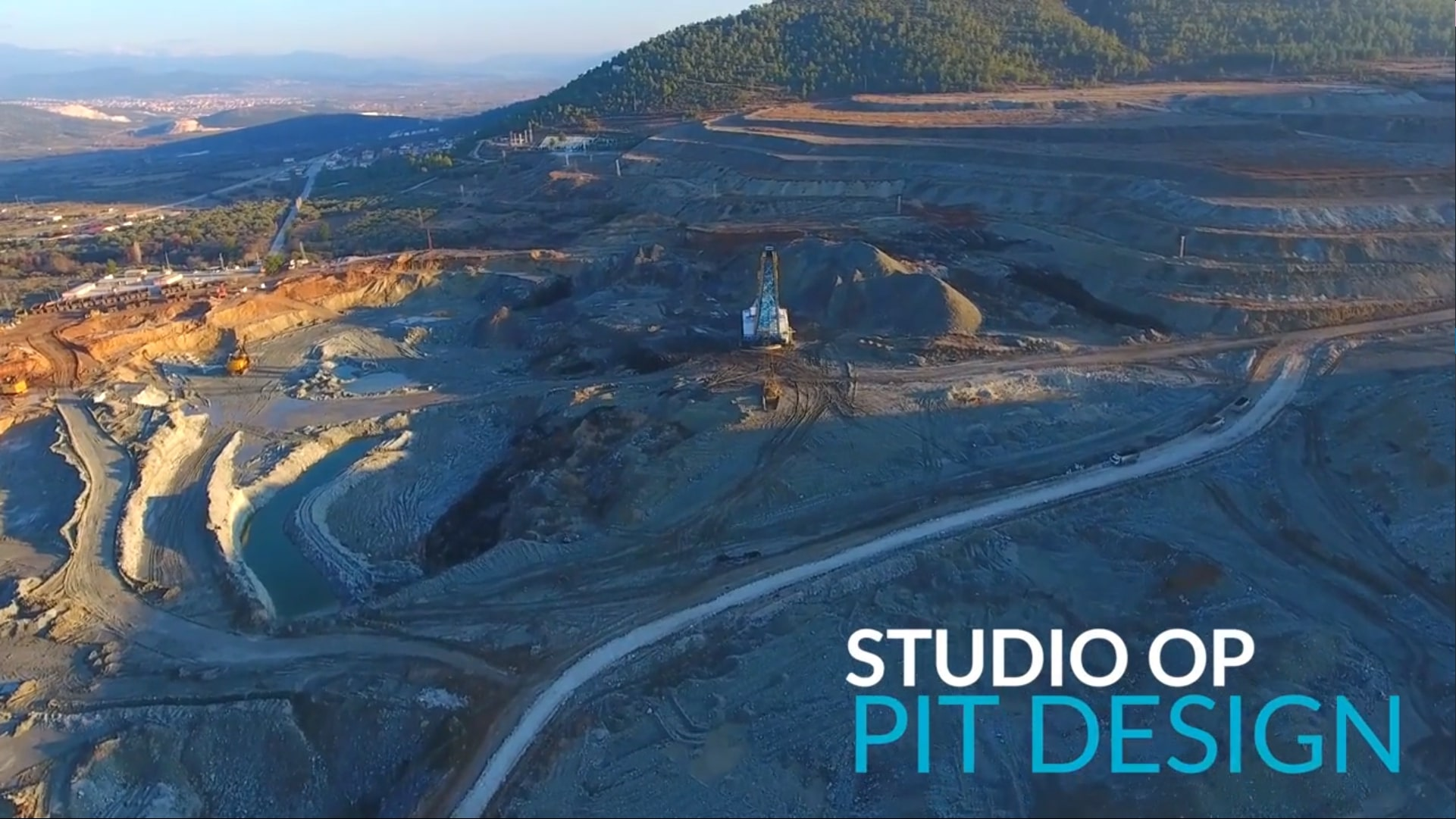 Screenshot of the title screen of the Studio OP Pit Design Video Talking about Studio OP's Open Pit Design Functions