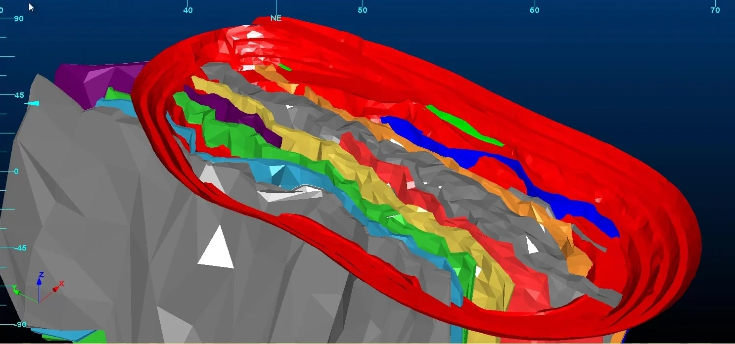 a split orebody showing grade estimation using different colours in Studio RM - a geological resource modelling software solution