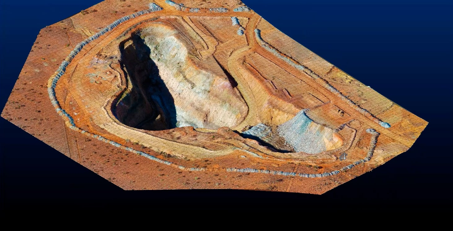 Open Pit DTM model produced in Studio Survey - open pit surveying software