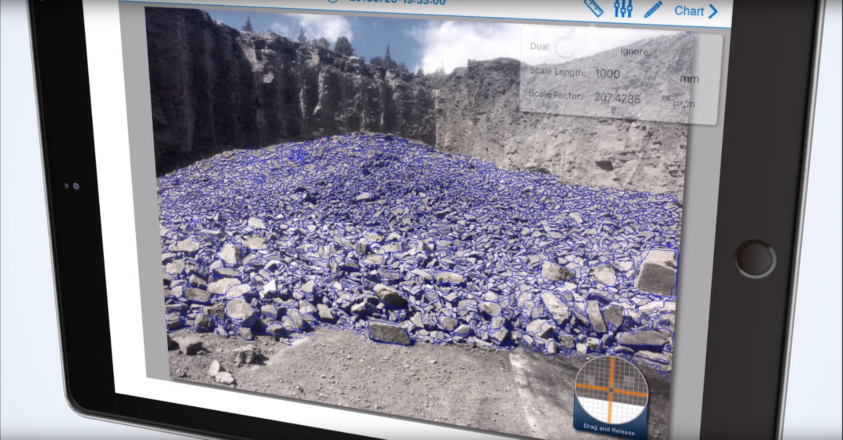 Fragmentation Analysis performed on a rock pile using WipFrag - fragmentation analysis software
