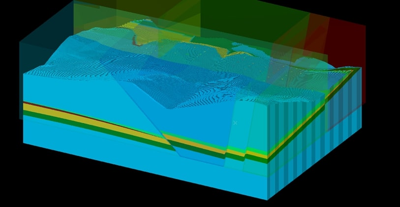 a 3D strat model in Strat3D - a stratigraphic modelling software solution