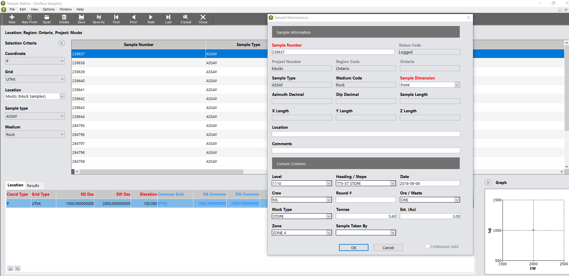 Sample Station interface showing surface sample data and information stored within the database - sample data management software