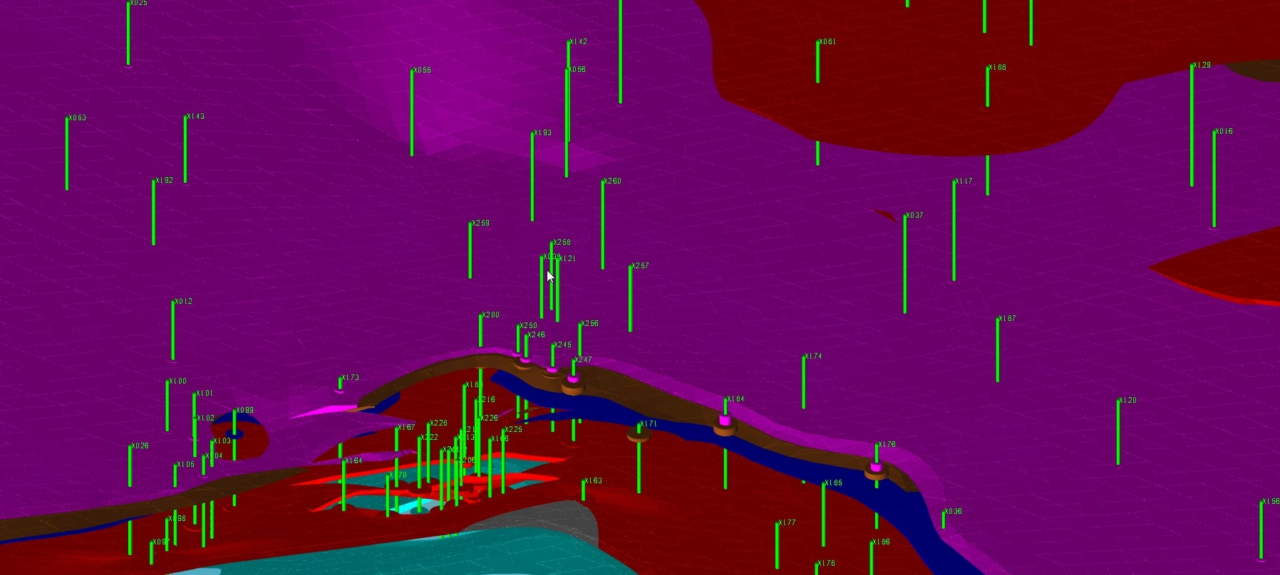 3D visualisation of the geological database available in MineScape - Geological Modelling & Mine Planning Software