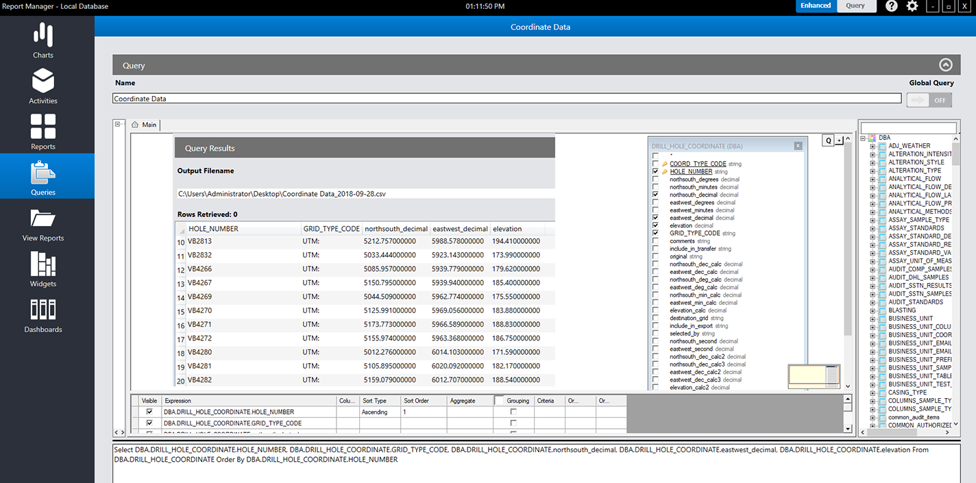 screenshot of the query section inside report manager that can export raw data and display query results - QAQC Data Management solution