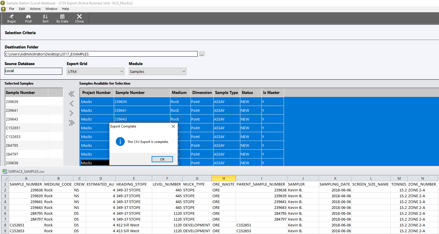 example screenshot showing the exporting function in sample station which exports data directly into a csv format - sample data management software