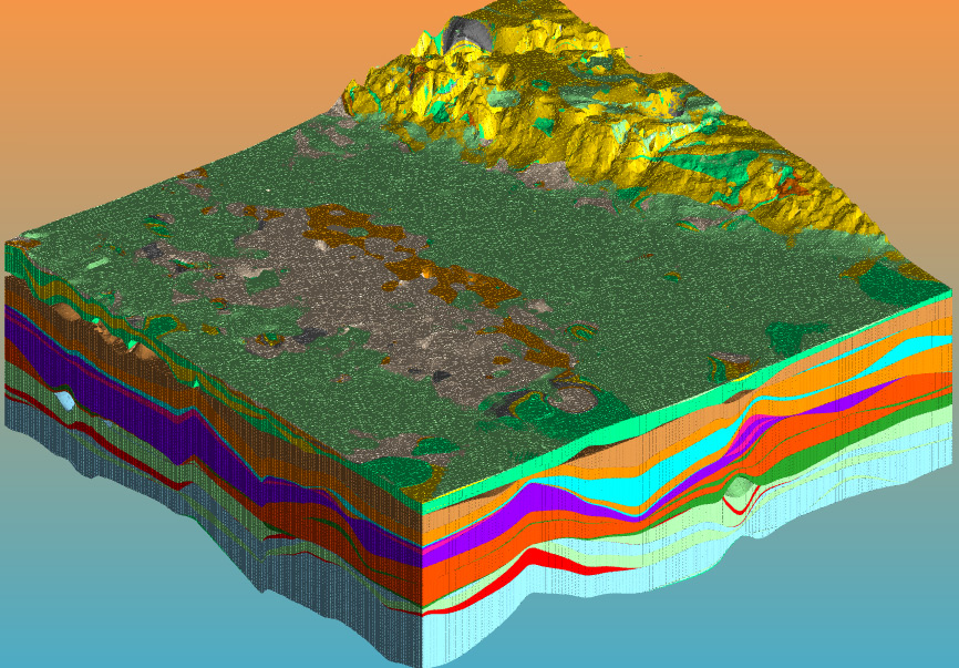 3D model of stratigraphic units with topographic surface. Each coloured layer represents a different geological unit - Geological Modelling & Mine Planning Software