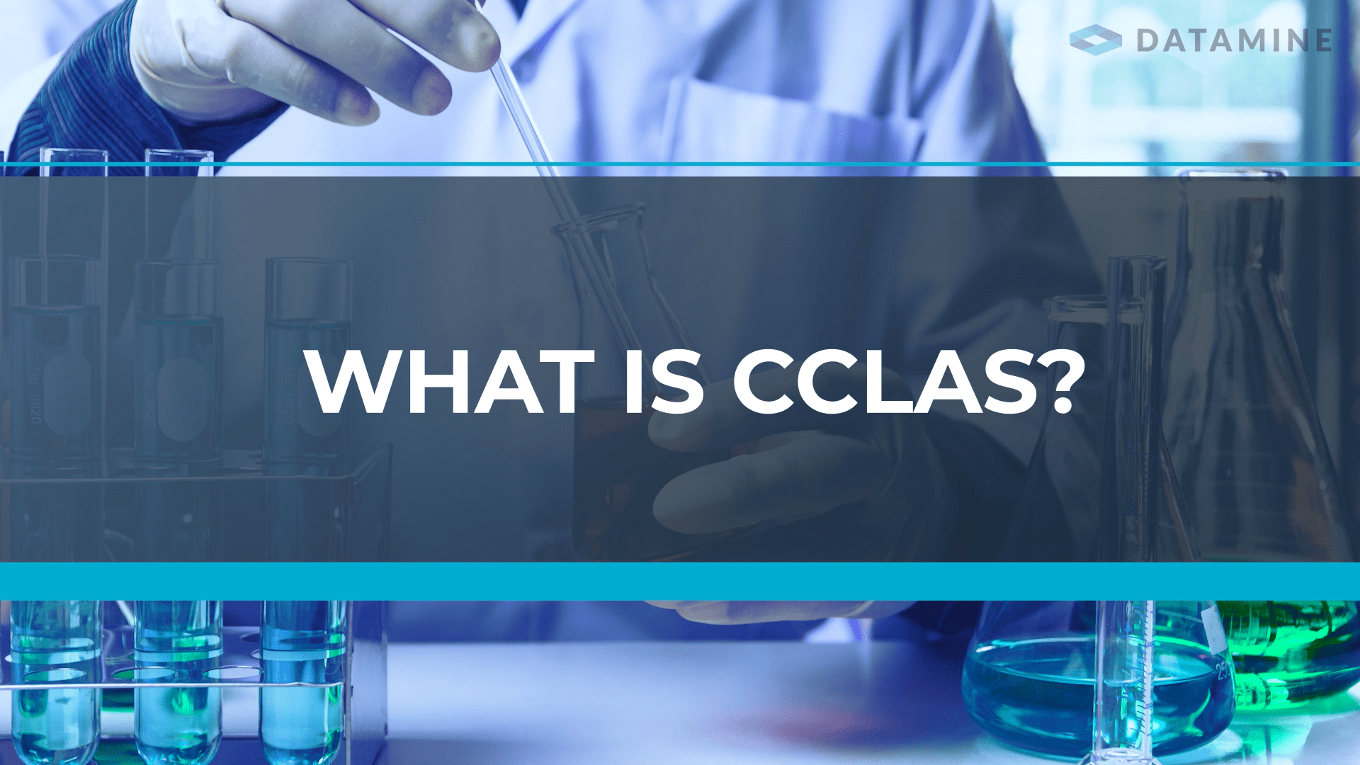 first frame of CCLAS overview video - words 'WHAT IS CCLAS' written on a lab background image