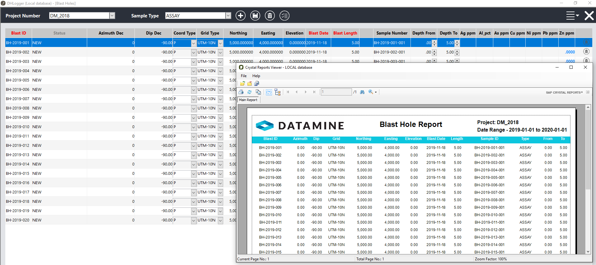 a blast hole report used for blast management within DHLogger, Fusion's drillhole management product.