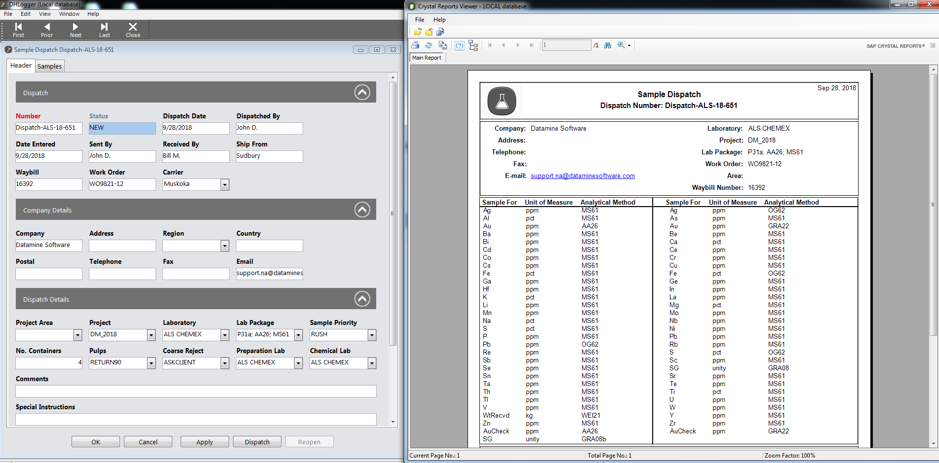 an example sample dispatch table created in DHLogger, Fusion's geological drillhole management product.