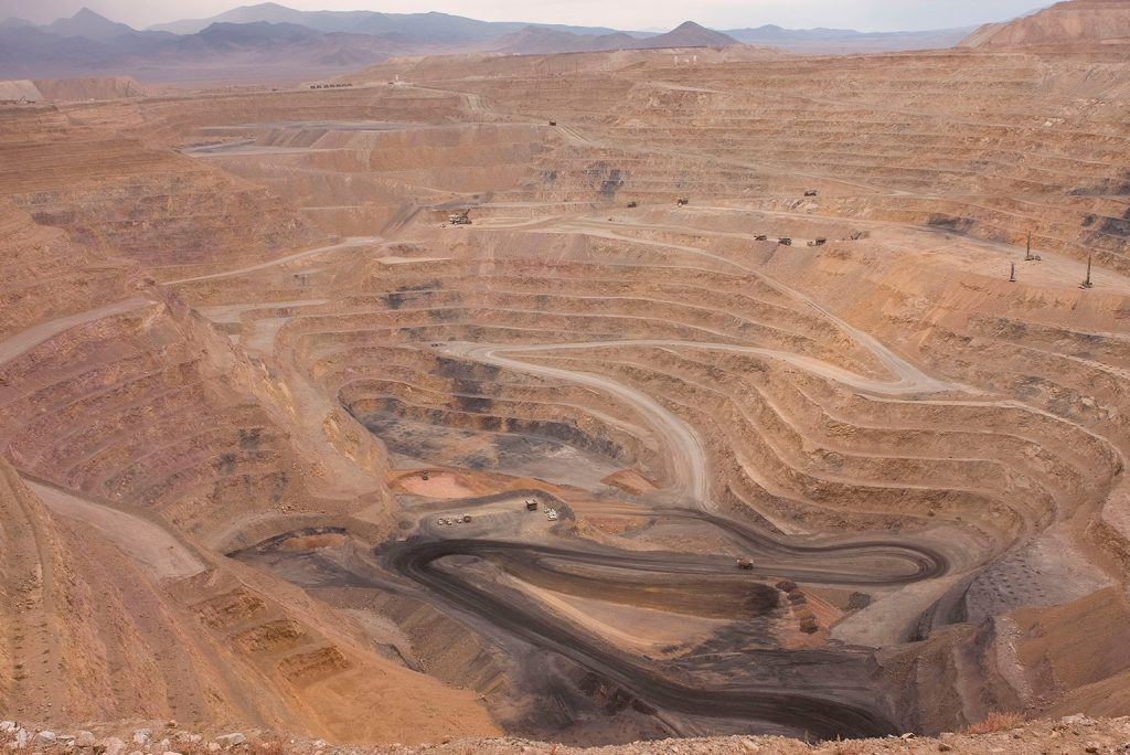 Aerial View of Open Pit Benches