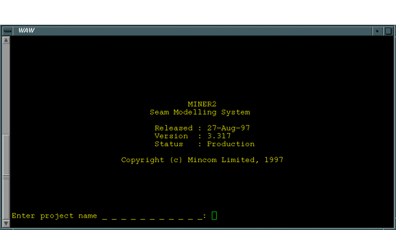 Screenshot of the Miner2 Interface back in 1997, one of the earliest software for geological/implicit modeling