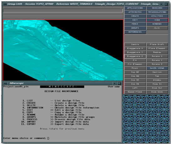 screenshot of MineScape 3 Interface showing geological modelling/implict modeling