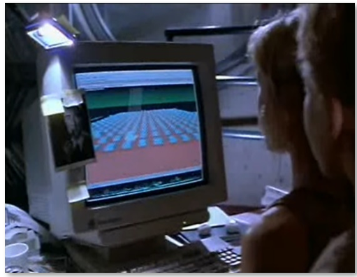 Image of someone looking at a screen featuring Jurassic Park back in the 90's