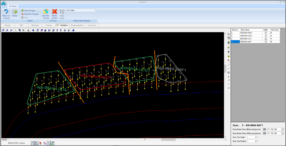 An example of timing zones being used to decrease ore dilution in DataBlast, open pit drill and blast software solution.